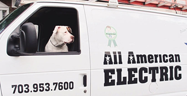 A dog in our residential electrician truck in Fairfax County, VA
